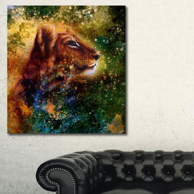Designart Thoughtful Lion Cub Animal Art On Canvas