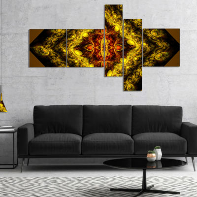 Designart Cabalistic Yellow Fractal Design Multipanel Abstract Wall Art Canvas - 4 Panels