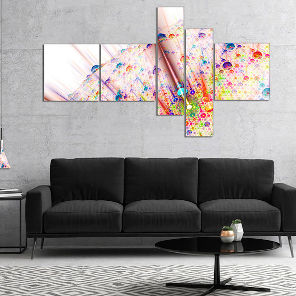 Designart Red Blue Solar Bubbles Planet MultipanelAbstract Canvas Wall Art - 4 Panels
