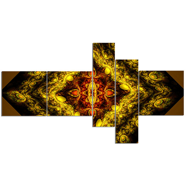 Designart Cabalistic Yellow Fractal Design Multipanel Abstract Wall Art Canvas - 5 Panels