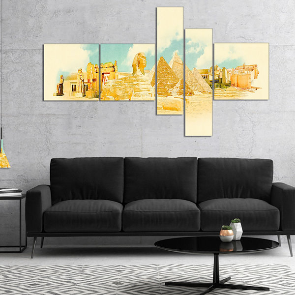 Designart Cairo Panoramic View Multipanel Cityscape Watercolor Canvas Print - 4 Panels
