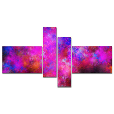 Designart Red Blue Starry Fractal Sky Multipanel Abstract Art On Canvas - 4 Panels