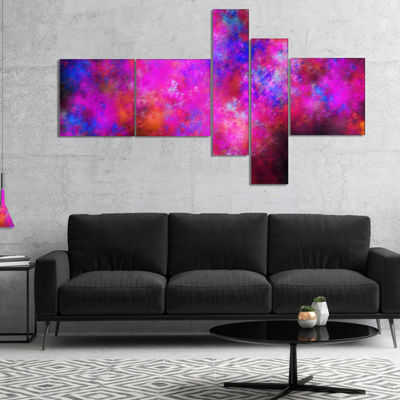 Designart Red Blue Starry Fractal Sky Multipanel Abstract Art On Canvas - 5 Panels