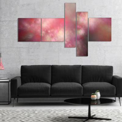 Designart Red Blur Sky With Stars Multipanel Abstract Canvas Art Print - 4 Panels