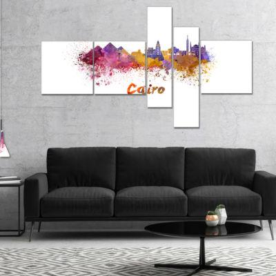Designart Cairo Skyline Multipanel Cityscape Canvas Artwork Print - 5 Panels