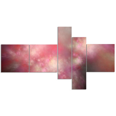 Designart Red Blur Sky With Stars Multipanel Abstract Canvas Art Print - 5 Panels