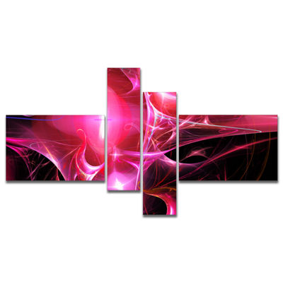 Designart Red Bright Candle Multipanel Abstract Canvas Art Print - 4 Panels