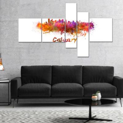 Design Art Calgary Skyline Multipanel Cityscape Canvas Artwork Print - 5 Panels