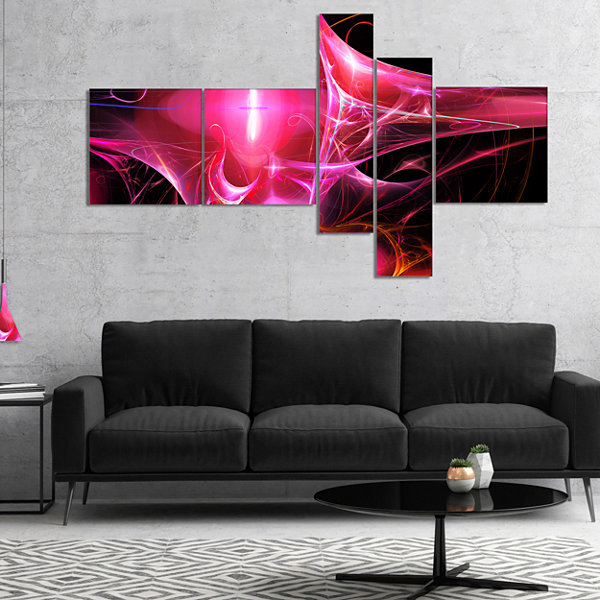 Designart Red Bright Candle Multipanel Abstract Canvas Art Print - 5 Panels