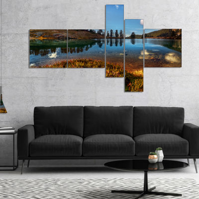 Designart Calm Mountain Lake And Clear Sky Multipanel Landscape Canvas Art Print - 5 Panels