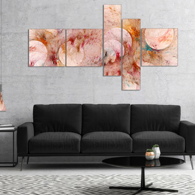 Designart Red Circles Fractal Texture Multipanel Abstract Canvas Art Print - 5 Panels