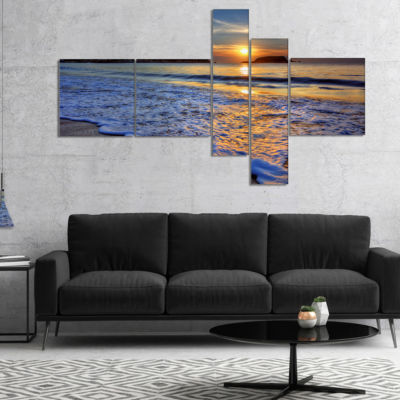 Designart Calm Seashore With Blue Waves MultipanelSeashore Canvas Art Print - 4 Panels