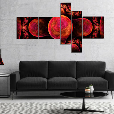 Designart Red Exotic Fractal Pattern Multipanel Abstract Art On Canvas - 4 Panels