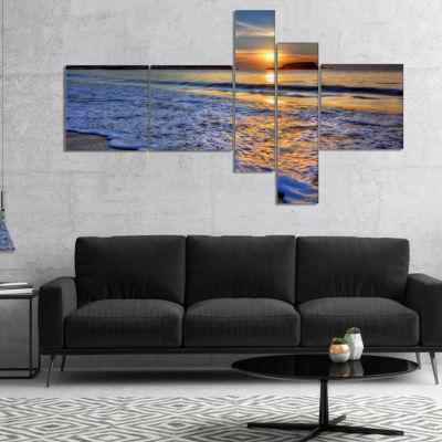 Designart Calm Seashore With Blue Waves MultipanelSeashore Canvas Art Print - 5 Panels