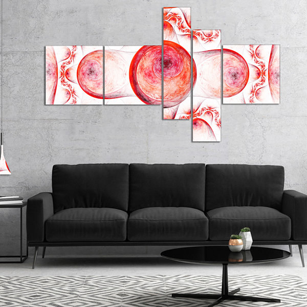 Designart Red Exotic Pattern On White Multipanel Abstract Art On Canvas - 5 Panels