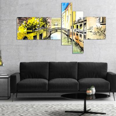 Designart Canal In Venice Multipanel Cityscape Canvas Artwork - 4 Panels