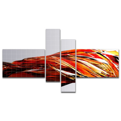 Designart Red Faceted Crystal Texture Multipanel Abstract Canvas Art Print - 4 Panels