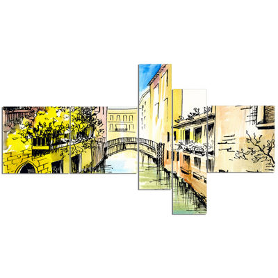 Designart Canal In Venice Multipanel Cityscape Canvas Artwork - 5 Panels