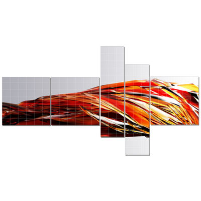 Designart Red Faceted Crystal Texture Multipanel Abstract Canvas Art Print - 5 Panels