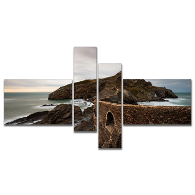 Designart Cape And Chapel In Spanish Beach Multipanel Seashore Photo Canvas Print - 4 Panels