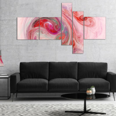 Designart Red Fractal Abstract Illustration Multipanel Abstract Canvas Wall Art - 4 Panels