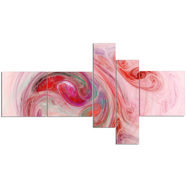 Designart Red Fractal Abstract Illustration Multipanel Abstract Canvas Wall Art - 5 Panels
