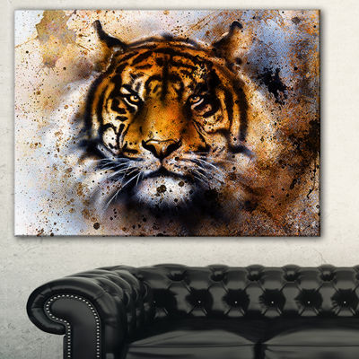 Designart Tiger Collage With Rust Design Animal Canvas Art Print - 3 Panels