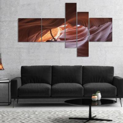 Design Art Cave In Antelope Canyon Multipanel Landscape Photo Canvas Art Print - 4 Panels