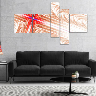 Designart Red Fractal Cross Design Multipanel Abstract Art On Canvas - 5 Panels
