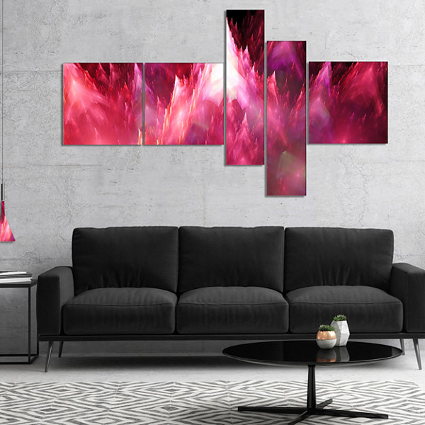 Designart Red Fractal Crystals Design Multipanel Abstract Canvas Art Print - 4 Panels
