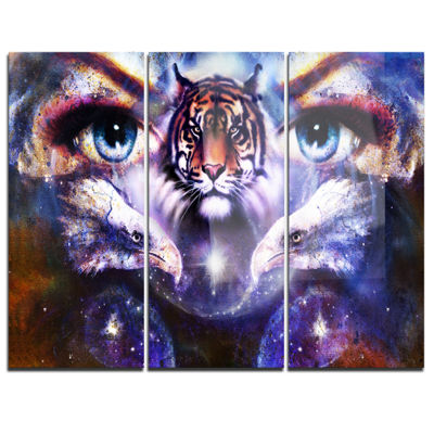 Designart Tiger Eagles And Woman Eyes Collage Animal Canvas Art Print - 3 Panels
