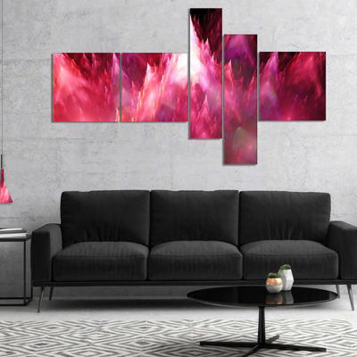 Designart Red Fractal Crystals Design Multipanel Abstract Canvas Art Print - 5 Panels