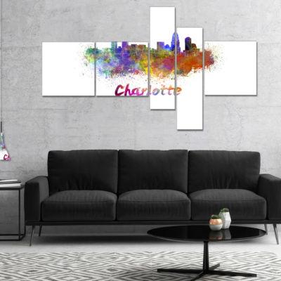 Designart Charlotte Skyline Multipanel Cityscape Canvas Artwork Print - 5 Panels