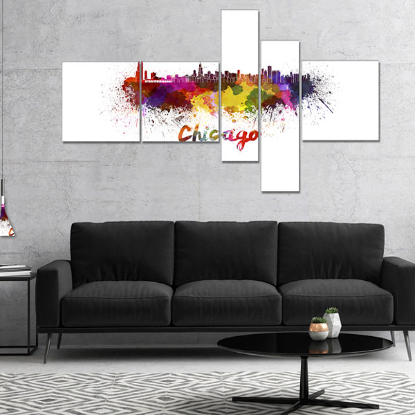 Designart Chicago Skyline Multipanel Large Cityscape Canvas Art Print - 4 Panels