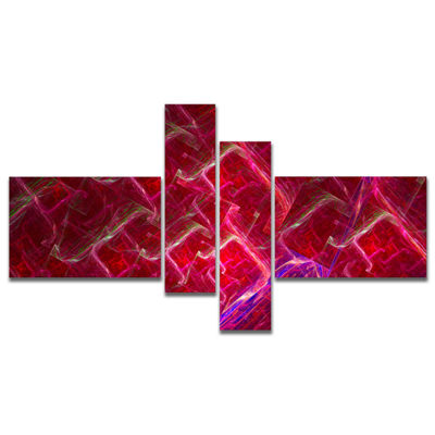 Designart Red Fractal Electric Lightning Multipanel Abstract Art On Canvas - 4 Panels