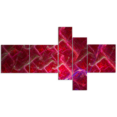 Designart Red Fractal Electric Lightning Multipanel Abstract Art On Canvas - 5 Panels