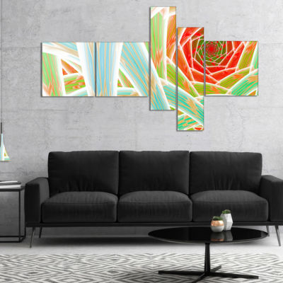 Designart Red Fractal Endless Tunnel Multipanel Abstract Canvas Art Print - 4 Panels