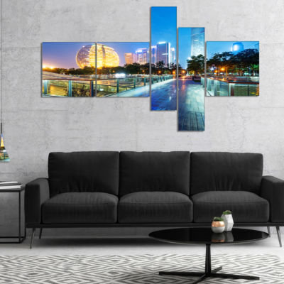 Designart China Hangzhou Skyscrapers Multipanel Cityscape Canvas Art Print - 5 Panels