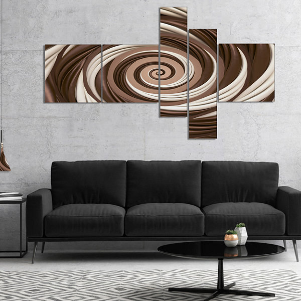 Designart Chocolate And Milk Candy Spiral DesignMultipanel Abstract Canvas Art Print - 4 Panels