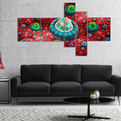Designart Red Fractal Exotic Planet Multipanel Abstract Canvas Art Print - 4 Panels