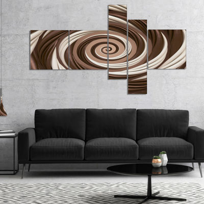 Designart Chocolate And Milk Candy Spiral DesignMultipanel Abstract Canvas Art Print - 5 Panels
