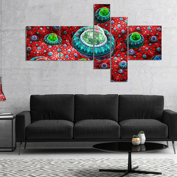 Designart Red Fractal Exotic Planet Multipanel Abstract Canvas Art Print - 5 Panels