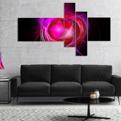 Designart Red Fractal Explosion Supernova Multipanel Abstract Canvas Art Print - 4 Panels