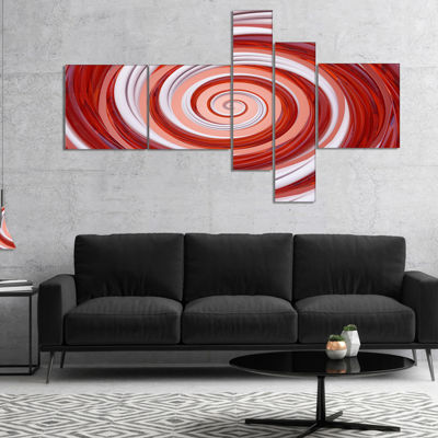 Designart Christmas Candy Cane Spiral Multipanel Abstract Canvas Art Print - 5 Panels