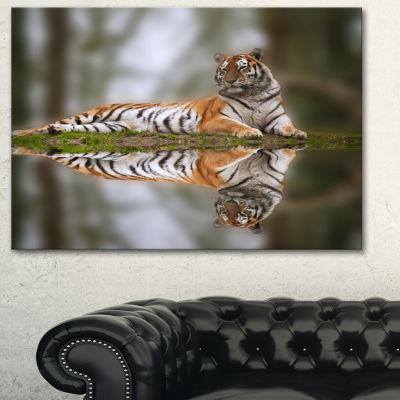 Designart Tiger Reflecting In Water Animal Photography Art - 3 Panels