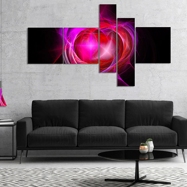 Designart Red Fractal Explosion Supernova Multipanel Abstract Canvas Art Print - 5 Panels