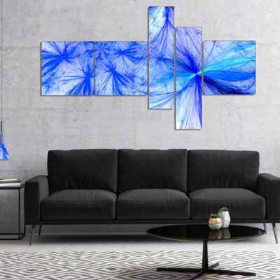 Designart Christmas Fireworks Blue Multipanel Abstract Print On Canvas - 5 Panels