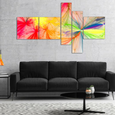 Designart Christmas Fireworks Colorful MultipanelAbstract Print On Canvas - 4 Panels