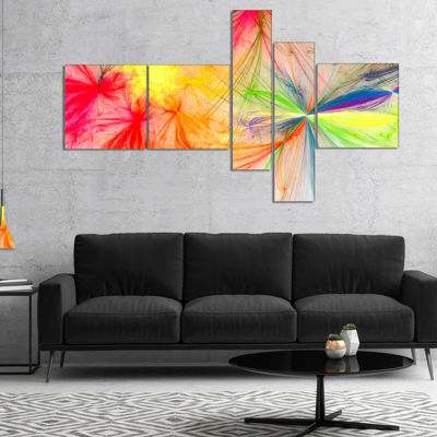 Designart Christmas Fireworks Colorful MultipanelAbstract Print On Canvas - 5 Panels