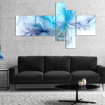 Designart Christmas Fireworks Light Blue Multipanel Abstract Print On Canvas - 4 Panels